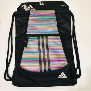 🆕 Adidas Rainbow draw string back pack striped